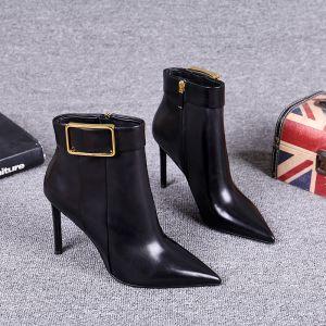 Mote Vinter Svart Gateklær Lær Kvinners støvler 2021 Spenne 7 cm Stiletthæler Spisse Ankel Boots