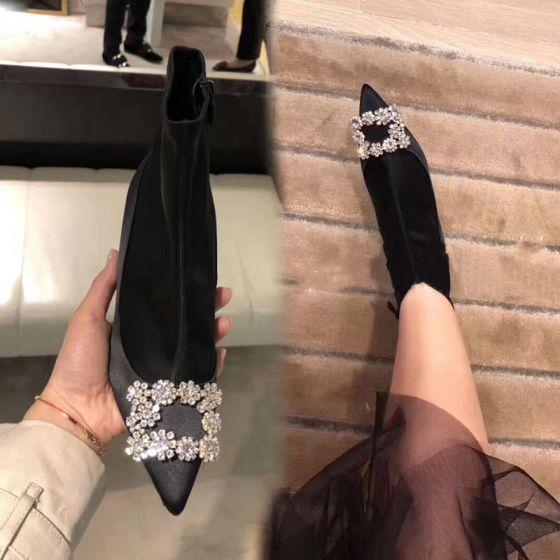 Elegancka Czarne Zużycie ulicy Buty Damskie 2020 Satyna Rhinestone 8 cm Szpilki Szpiczaste Boots