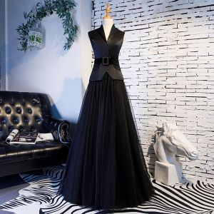 Vintage / Retro Black Prom Dresses 2019 A-Line / Princess V-Neck Sash Sleeveless Floor-Length / Long Formal Dresses
