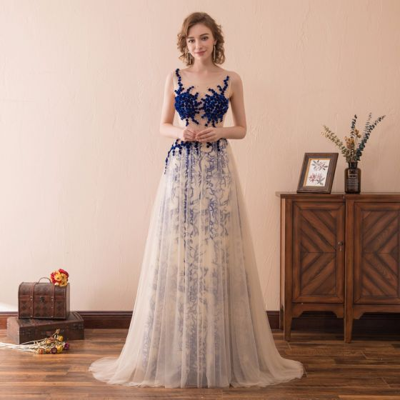 Sexy Champagne Royal Blue Pierced Prom Dresses 2018 A-Line / Princess Scoop Neck Sleeveless Covered Button Beading Sweep Train Ruffle Formal Dresses