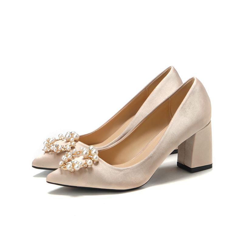 Classy Champagne Satin Wedding Shoes 2020 Pearl Rhinestone