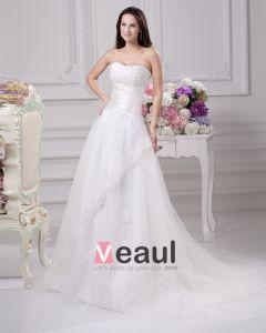 Longueur De Plancher Bretelles Perles Satin Plisse D'une Robe De Mariée En Ligne