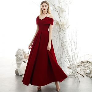Chic / Beautiful Burgundy Suede Evening Dresses  2020 A-Line / Princess High Neck Off-The-Shoulder Short Sleeve Backless Floor-Length / Long Formal Dresses