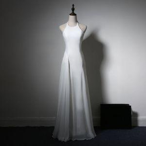 Schlicht Abendkleider 2017 Weiß A Linie Lange Neckholder Ärmellos Rückenfreies Festliche Kleider