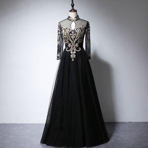 Vintage / Originale Noire Transparentes Robe De Soirée 2020 Princesse Col Haut Manches Longues Appliques Glitter Longue Volants Robe De Ceremonie