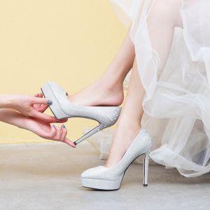 Błyszczące Srebrny Buty Ślubne 2019 Rhinestone 12 cm Szpilki Szpiczaste Ślub Czółenka