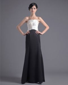 Fashion Satin Pleated Strapless Floor Length Bridesmaid Dress