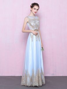Elegantes Langes Abendkleid Mit Pailletten Blaues Tüllkleid Mit Schärpe