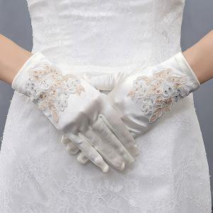 Unique Ivory / Creme Champagner Hochzeit 2018 Schnüren Charmeuse Perlenstickerei Pailletten Brauthandschuhe