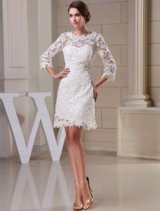 Charmante A-linie 3/4 Ärmel Durchbohrte Spitze Kurzen Hochzeitskleid Brautkleid