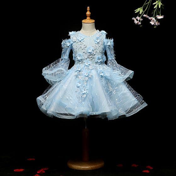 Chic / Belle Bleu Ciel Robe Ceremonie Fille 2018 Princesse Encolure Dégagée Manches Longues Appliques En Dentelle Fleur Faux Diamant Mi-Longues Volants Robe Pour Mariage