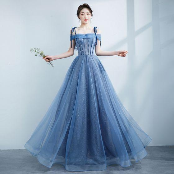 Snygga / Fina Himmelsblå Balklänningar 2021 Prinsessa Spaghettiband Beading Rosett Ärmlös Halterneck Långa Formella Klänningar