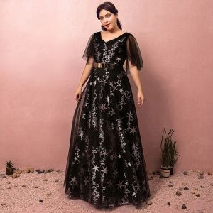 Chic / Beautiful Black Plus Size Prom Dresses 2018 A-Line / Princess Tulle V-Neck Star Backless Printing Embroidered Evening Party Evening Dresses