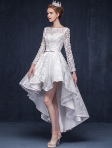 Gorgeous A-line Square Neckline Ruffle Asymmetrical Short Lace Wedding Dress