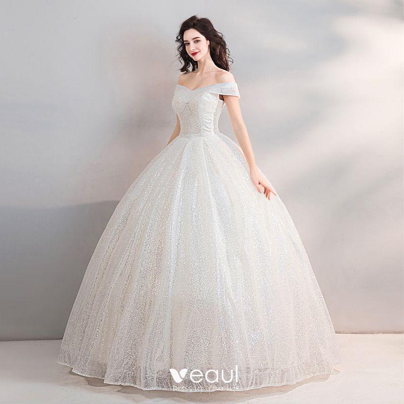 ea0c04dc492 Sparkly Bling Bling White Floor-Length   Long Wedding 2018 Starry Sky Tulle  Strapless Backless Beading Sequins Ball Gown Wedding Dresses