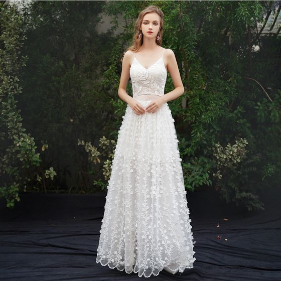 Modern / Fashion Ivory Beach Evening Dresses  2019 A-Line / Princess Spaghetti Straps Appliques Sleeveless Backless Floor-Length / Long Formal Dresses