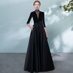 Elegantes Negro Vestidos de noche 2018 A-Line / Princess Cinturón Traspasado Cuello Alto Sin Espalda 1/2 Ærmer Largos Vestidos Formales