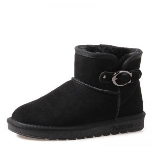 Mode Damenschuhe 2017 Schwarz Leder Ankle Boots Wildleder Schnalle Freizeit Winter Flache Schneestiefel