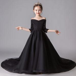 Simple Noire Robe Ceremonie Fille 2019 Princesse De l'épaule 3/4 Manches Glitter Polyester Chapel Train Volants Dos Nu Robe Pour Mariage