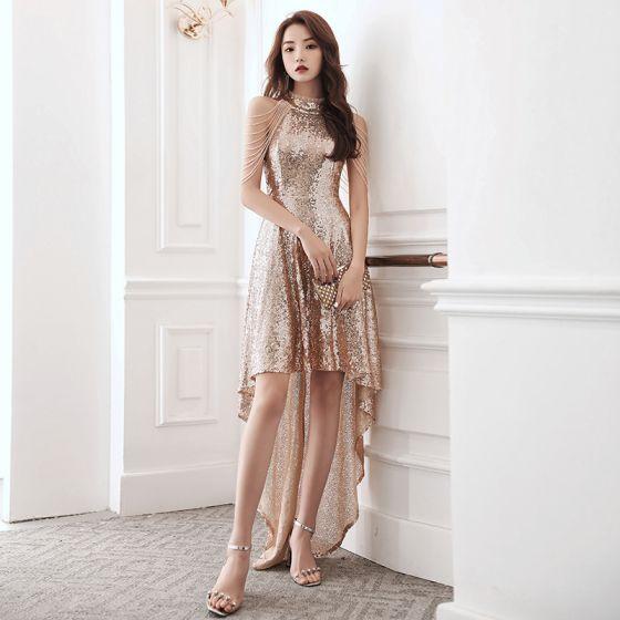 Glitzernden Rose Gold Pailletten Cocktailkleider 2020 A Linie Stehkragen Ärmellos Perlenstickerei Asymmetrisch Festliche Kleider