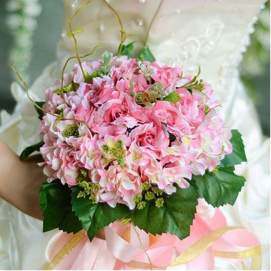 Hortensia Petite Rose Bouquet De Mariée Mariage Tenant Des Fleurs