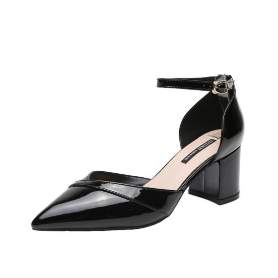 Chic / Beautiful Black Casual Womens Sandals 2020 Patent Leather Ankle Strap 6 cm Thick Heels Pointed Toe Sandals