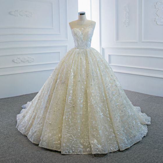 Luxury / Gorgeous Champagne Bridal Wedding Dresses 2020 Ball Gown See-through Scoop Neck Sleeveless Backless Star Appliques Lace Beading Pearl Chapel Train