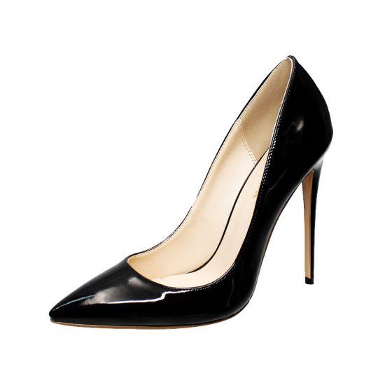 Modest / Simple Black Office OL Pumps 2020 Patent Leather 12 cm Stiletto Heels Pointed Toe Pumps