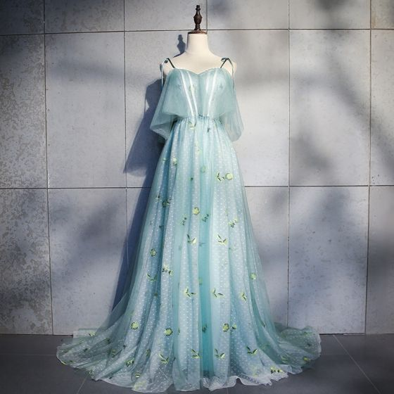 Chic / Beautiful Jade Green Court Train Evening Dresses  2018 A-Line / Princess Tulle V-Neck Backless Embroidered Printing Evening Party Formal Dresses