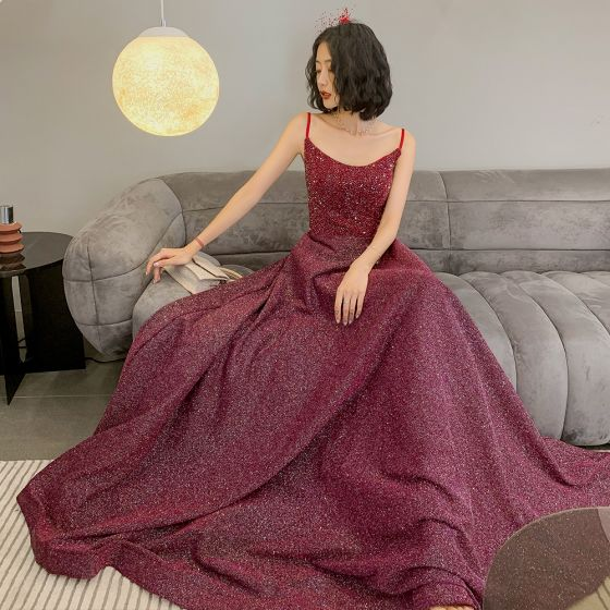 Bling Bling Burgundy Dancing Prom Dresses 2021 A-Line / Princess Spaghetti Straps Sleeveless Beading Glitter Polyester Floor-Length / Long Ruffle Backless Formal Dresses