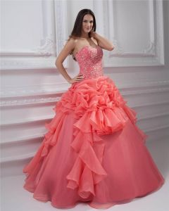 Ball Gown New Sleeveless Yarn Flowers Embroidery Ruffles Applique Sweetheart Floor Length Quinceanera Prom Dresses