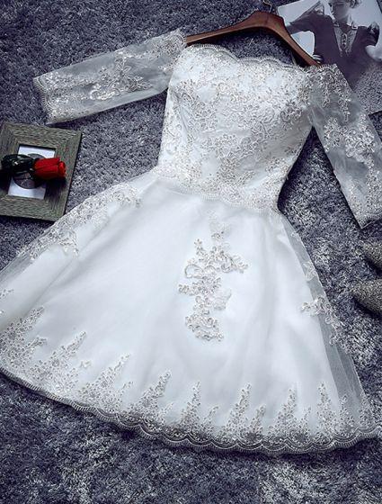 Einfache Kurze Hochzeitskleid 2016 Aus Der Schulter Brautkleid Mit Ärmeln