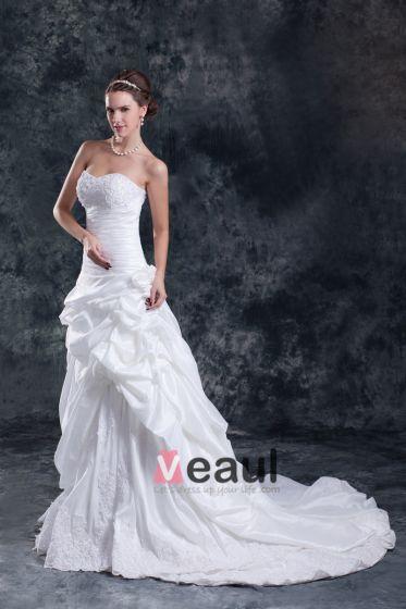 Taft Flæse Applikerede Blomst Domstol Tog Kæreste Kvinder En Linje Brudekjole