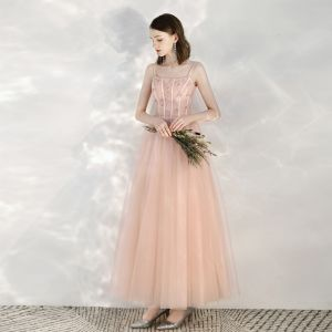 Chic / Beautiful Pearl Pink Homecoming Graduation Dresses 2020 A-Line / Princess Spaghetti Straps Sleeveless Appliques Flower Beading Glitter Tulle Ankle Length Ruffle Backless Formal Dresses