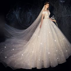 Classy Ivory Wedding Dresses 2019 A-Line / Princess Off-The-Shoulder Beading Pearl Star Lace Flower Sequins Short Sleeve Backless Cathedral Train