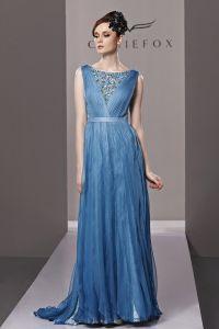Bateau Perles Etage Longueur Tencel Robe De Soirée De Femme