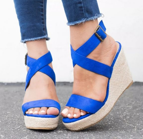 Affordable Royal Blue Street Wear Womens Sandals 2020 X-Strap 8 cm Wedges Open / Peep Toe Sandals