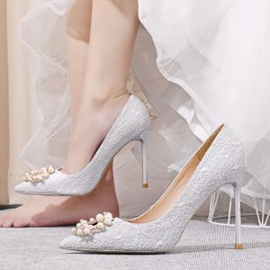 Charming Silver Lace Wedding Shoes 2020 Pearl Rhinestone 10 cm Stiletto Heels Pointed Toe Wedding Pumps