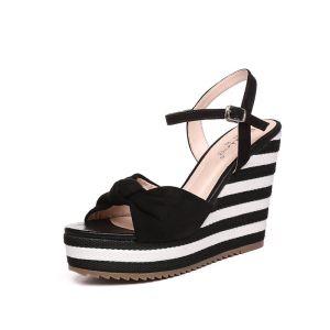 Modern / Fashion Outdoor / Garden Womens Sandals 2017 PU Bow Wedges High Heel Open / Peep Toe Sandals