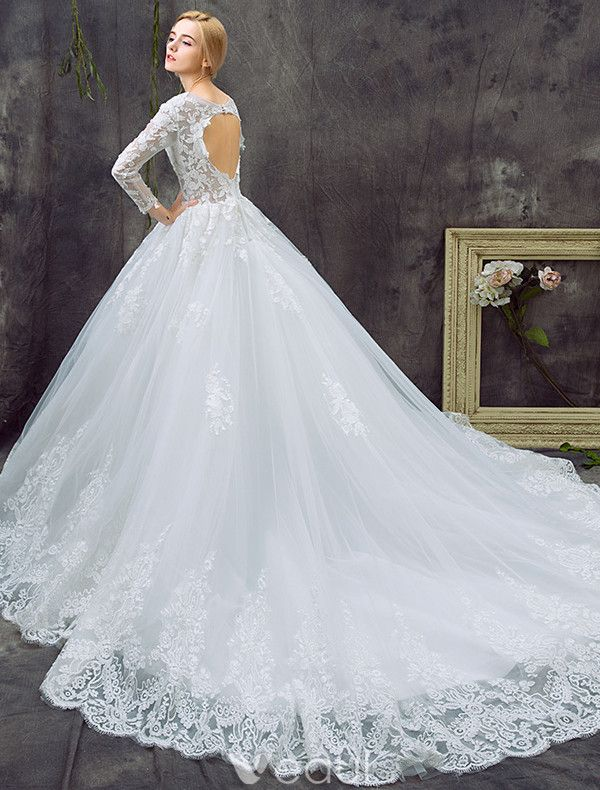 Glamorous A-line Wedding Dresses 2017 Scoop Neck Applique Lace Bridal Gowns With Train