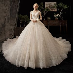 Chic / Beautiful Champagne Wedding Dresses 2020 Ball Gown V-Neck Sleeveless Backless Appliques Lace Beading Feather Cathedral Train Ruffle