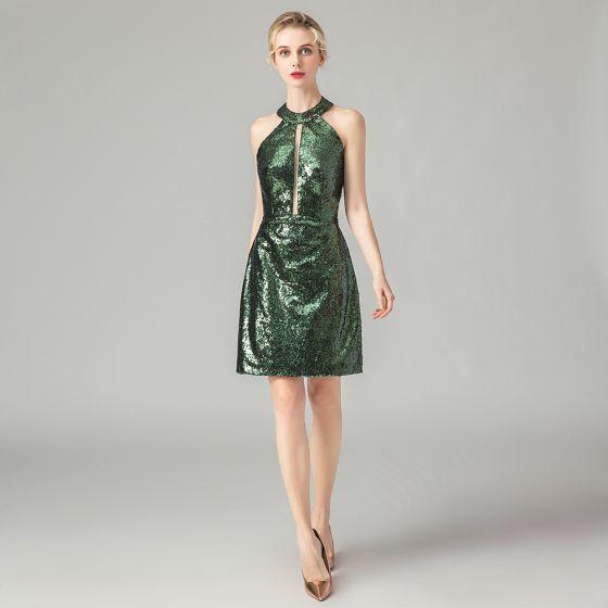 Brillante Verde Lentejuelas Vestidos de fiesta 2021 Halter Sin Mangas Cortos Sin Espalda Vestidos Formales