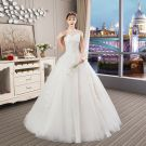 Chic / Beautiful Ivory Wedding Dresses 2019 A-Line / Princess Halter Beading Pearl Sequins Appliques Lace Flower Short Sleeve Backless Cathedral Train