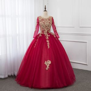 Traditional Burgundy Prom Dresses 2019 Ball Gown Scoop Neck Pearl Lace Flower Long Sleeve Backless Floor-Length / Long Formal Dresses