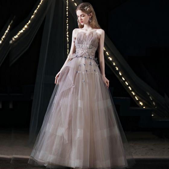 Uroczy Fioletowe Sukienki Na Bal 2021 Princessa Wzburzyć Bez Ramiączek Frezowanie Bez Rękawów Bez Pleców Długie Sukienki Wizytowe