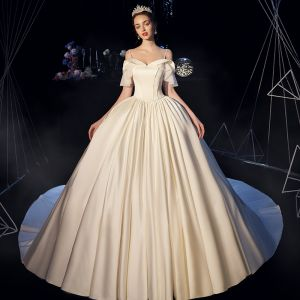Modest / Simple Ivory Satin Wedding Dresses 2019 Ball Gown Off-The-Shoulder Spaghetti Straps Short Sleeve Backless Chapel Train Ruffle