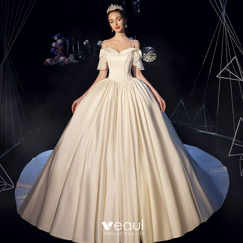 Modest / Simple Ivory Satin Wedding Dresses 2019 Ball Gown