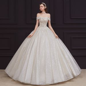 Best Champagne Bridal Wedding Dresses 2020 Ball Gown Off-The-Shoulder Short Sleeve Backless Appliques Lace Beading Glitter Tulle Floor-Length / Long Ruffle