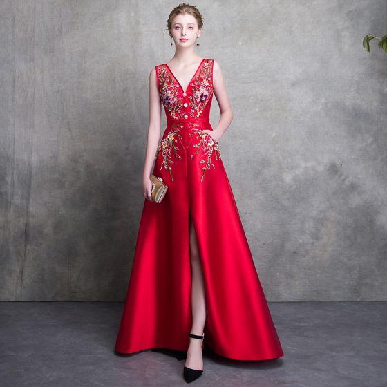 Luxus Rød Selskabskjoler 2018 Prinsesse V-Hals Ærmeløs Beading Bælte Split Foran Feje tog Halterneck Kjoler