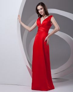 V Neck Pleated Bowknot Floor Length Satin Woman Bridesmaid Dress